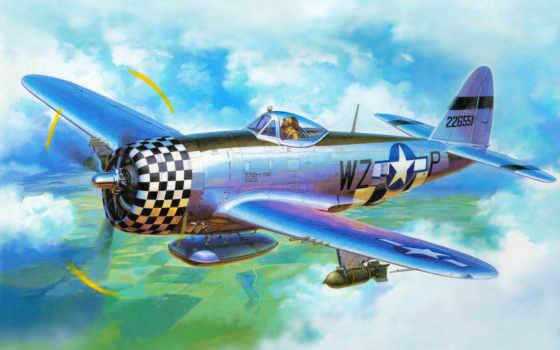 thunderbolt, republic, авиация, самолёт, рисованные, самолеты, tamiya, арт, истребитель, от,