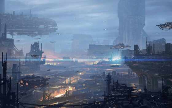 город, будущее, art