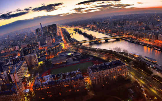 париж, вечер, огни