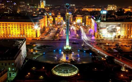 ukrainian, киев, ночь, города, ukraine, площадь, square,
