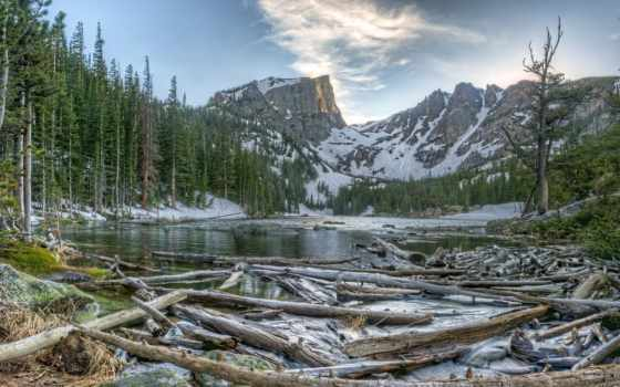 park, national, озеро, гора, скалистый, dream, сша, дерева, парки, горы,