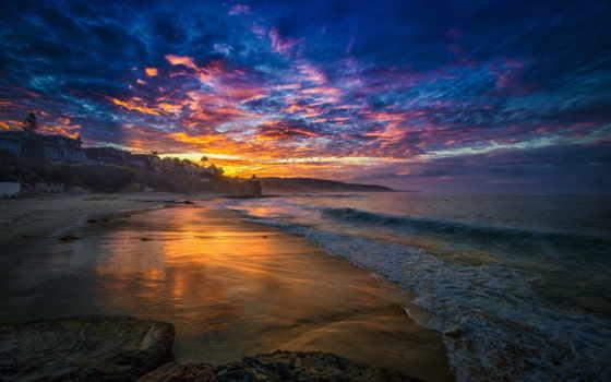 rising, море, утро, пляж, bay, дома, тучи,