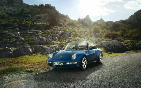 porsche, carrera, cabriolet, blue, everything, singer, classic, car,