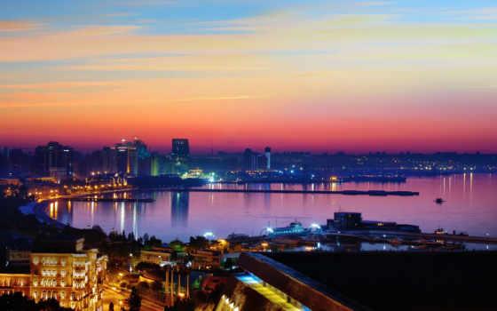 баку, море, город, небо, rising, azerbaijan, отдых, каспийском,