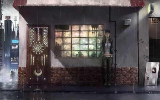 дождь, anime, ночь