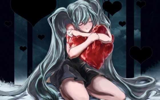 love, anime, сердце,