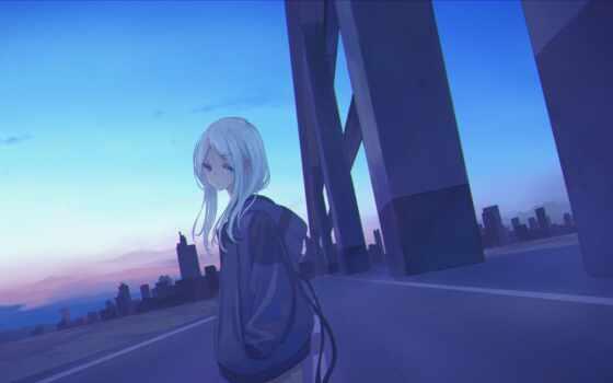 anime, девушка, art, artwork, digital, волосы, рассвет, cover, anim, город, short