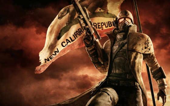 игры, fallout, new, vegas, ncr, APA, снайперская, винтовка, флаг