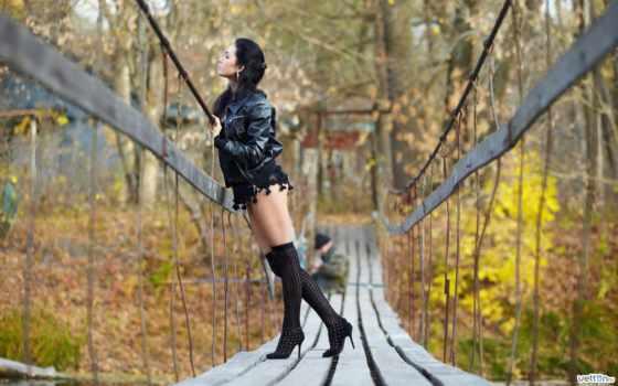 осень, мост, брюнетка, деревья, туфли, sexy, рыбак, волосы, девушка, красивая,