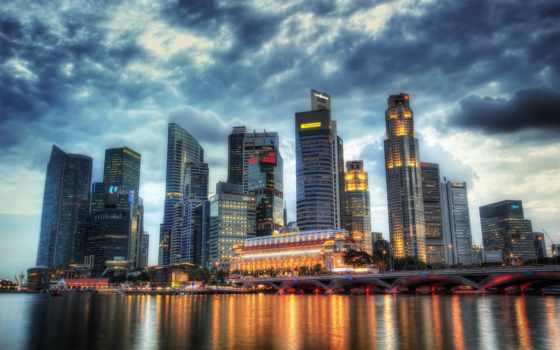 город, река, небоскребы
