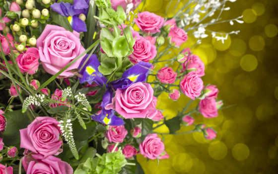 bukiet, kwiaty, kwiatów, tapety, růže, irysy, puzzle, irys, bukiety, darmowe,