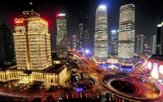 shanghai, china, noche, fondos, gratis, китаянка, ночь, город, pantalla,