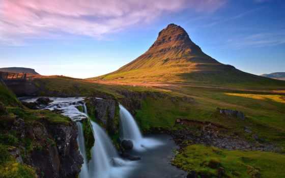 iceland, водопад, гора, kirkjufell, kirkjufellsfoss, скандинавский, природа, вулкан, потухший, широкоформатные,