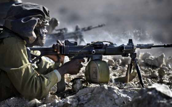 israeli, ручной, пулемет, под, патрон, мм, джин, машина, армия