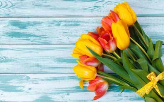 цветы, тюльпан, wood, букет, yellow, red