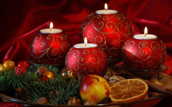 свечи, новогодние, год