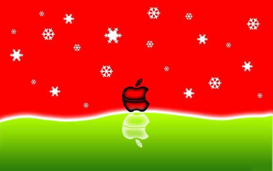 apple, зима, лого, снежинки