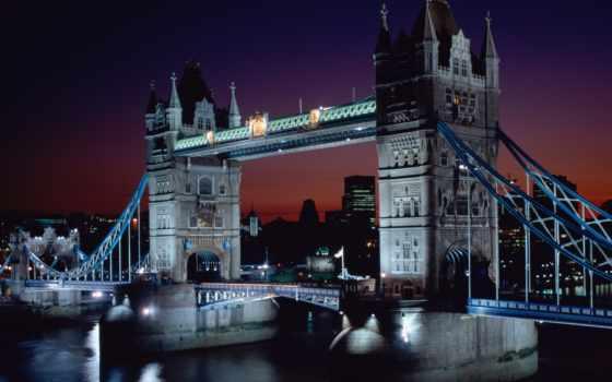 мост, london, башня, места, мира, расположен, красивые,