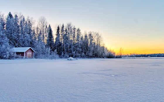 winter, лес, lodge, rising, природа, trees,