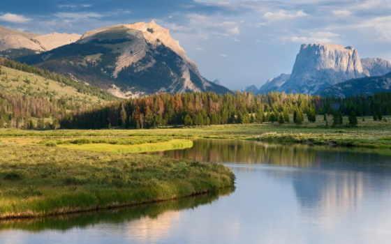 река, горы, fone, луг, гор, природа, озеро, красивые, горах, eu, корабли,