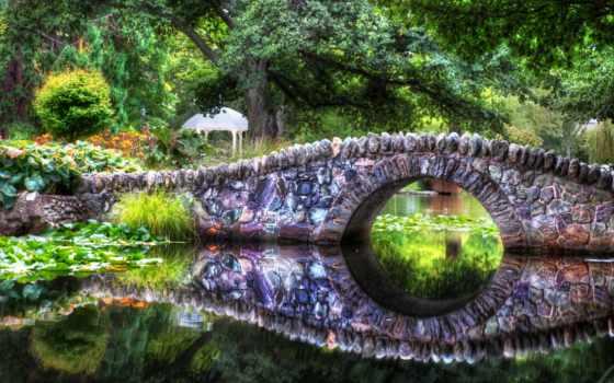 отражение, water, мост, природа, пруд, trees, камень,