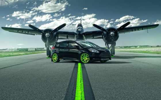 ford, focus, зелёный, car, plane, runway, wheels, black, колеса, самолёт,
