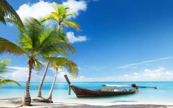 море, лодка, пальмы