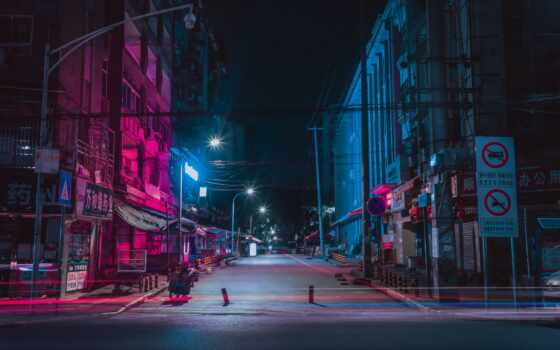 улица, ночь, город, neon, дорога