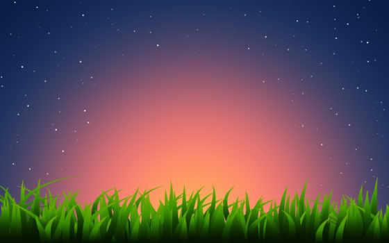 трава, звезды, горизонт