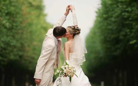 поцелуй, невеста, пара