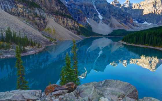 озеро, banff, moraine, канада, park, national, louise,