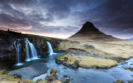 kirkjufell, desktop, iceland, река, гора, водопад, вулкан,