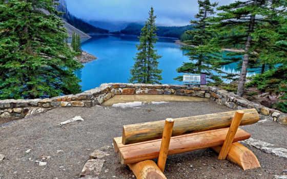 озеро, скамейка