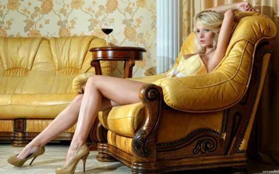 девушка, девушки, кресле