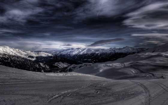 снежные, горы, landscape