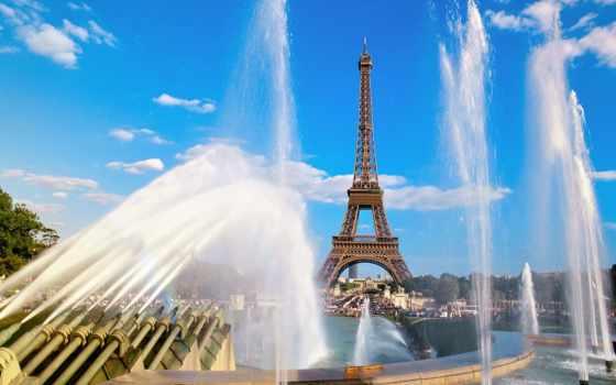 turret, эйфелева, eiffel, фонтаны, париж, башня, франция, парижа,