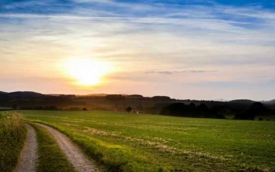 небо, summer, sun, закат, поле, trees, вечер, oblaka, дорога,