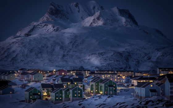 ночь, winter, огни, горы, снег, дома, озеро, гренландия, нуук, города,