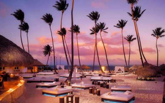 пальмы, туры, iphone, доминикану, пляж, небо, доминикана, горящие, oblaka, ocean, скидки,