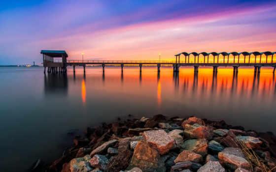 природа, море, небо, reservoir, superfamily, друзья, вечер, закат, pier, landscape,