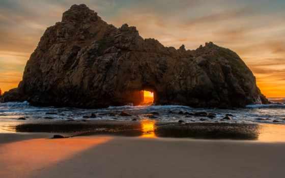 пляж, pfeiff, rock, kalifornii, биг, побережье, android, iphone, ipad, берег, море