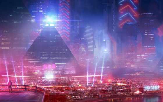 город, будущего, здания