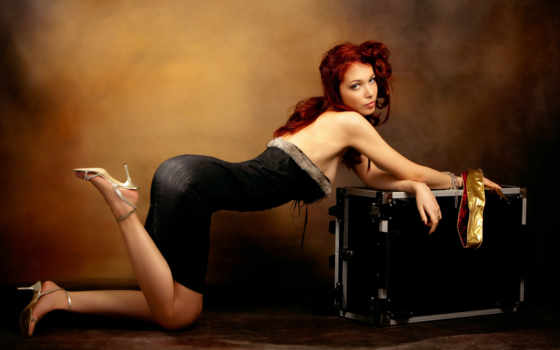 devushki, red, sexy, волосы, девушка, чёрное, комод, заставки,