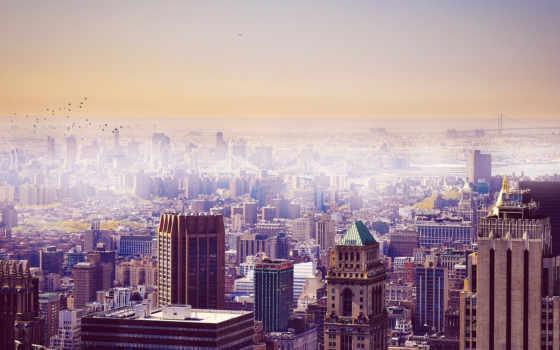 город, york, нью