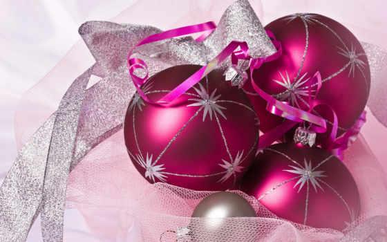 новогодние, вышивки, шары