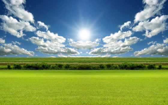 поле, зеленое, под, sun, oblaka, небом, зелёный, лазурным, блог,