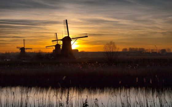 мельницы, закат, поле, небо, изображение, landscape, oblaka, со, ветрянные,