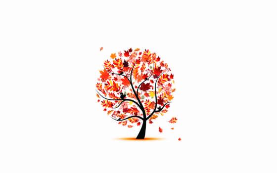 листва, осень, птицы, дерево, art, девушка, яркость, высоком,