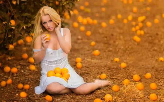 девушка, настроение, оранжевый, girls, oranges,