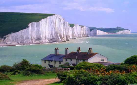 lodge, моря, sisters, дома, seven, великобритании, скалы, заставки,